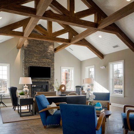 Clubroom with vaulted ceilings at Creekstone Village apartments in Pasadena, MD