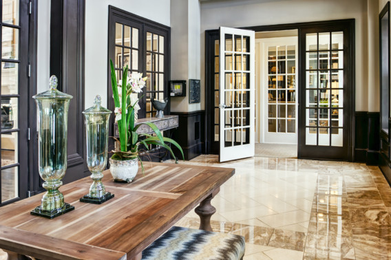 Entrance lobby for Creekstone Village apartments in Pasadena, MD