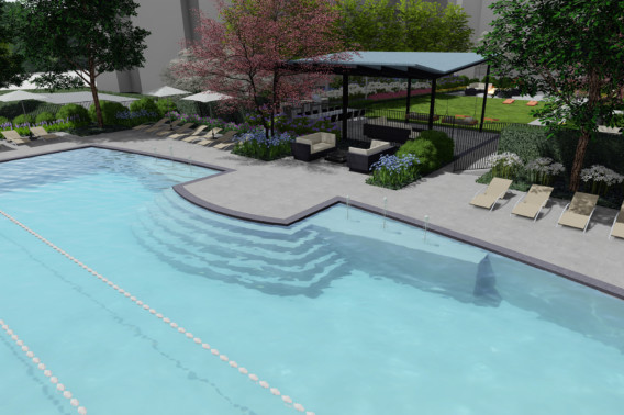 New Resort-style pool at Creekstone Village apartments in Pasadena, MD