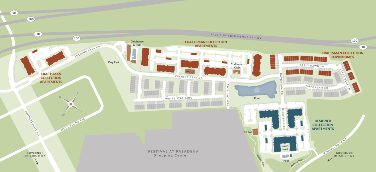 Site Map for Creekstone Village apartments in Pasadena, MD