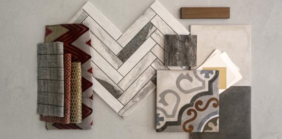 Designer materials board for Creekstone Village apartments in Pasadena, MD